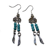 Örhängen - Tibet silver - Turkos Feathers
