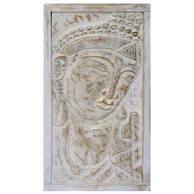 Budda Trätavla i vit/guld - 65cm