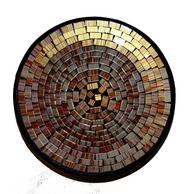 Mosaikskål - Multifärgad i guldtoner
