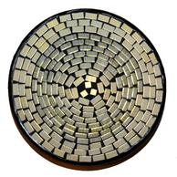 Mosaikskål - Vit/Guld